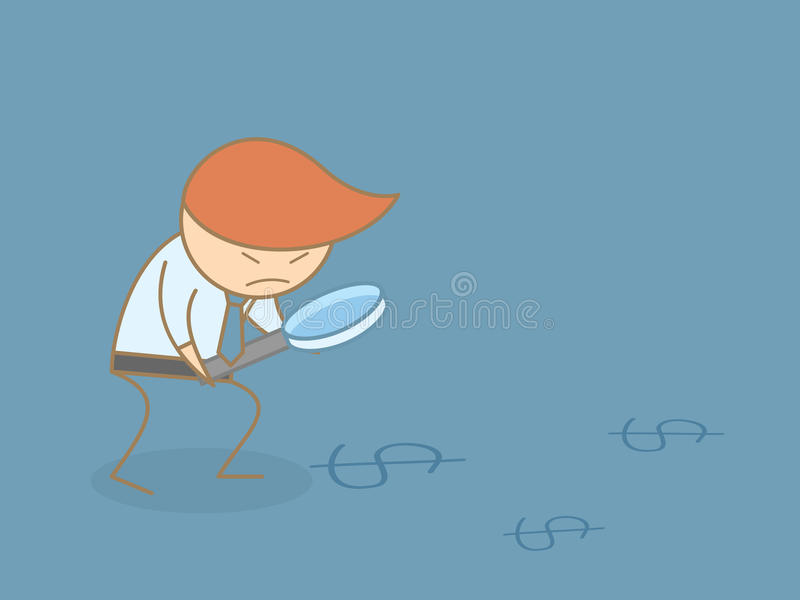 Business man searching for money. With magnifier royalty free illustration