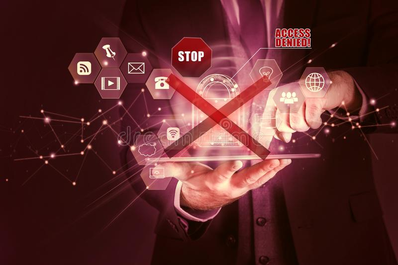 Business man secures personal information on tablet, Data protection privacy concept, access denied. Security connection network stock photo
