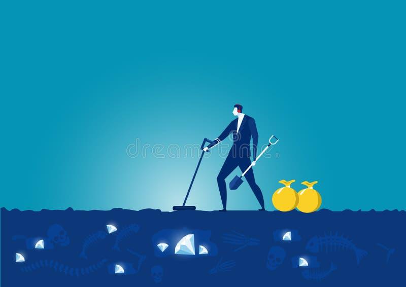 Business man seek with metal detector vector illustration