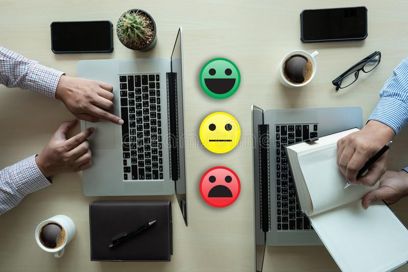 Business man select happy on satisfaction evaluation? And good m. Ood smiley royalty free stock photos