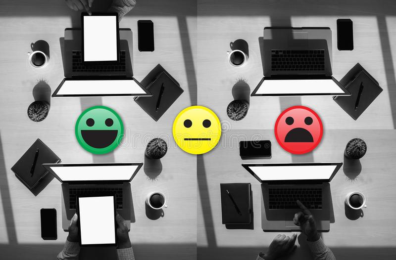Business man select happy on satisfaction evaluation? And good m. Ood smiley royalty free stock photo