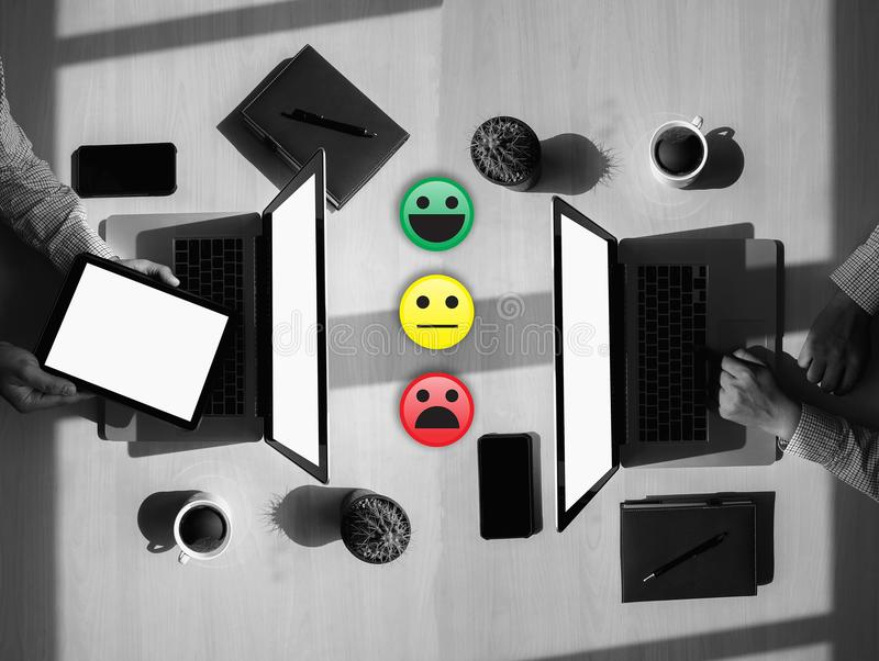 Business man select happy on satisfaction evaluation? And good m. Ood smiley stock photography