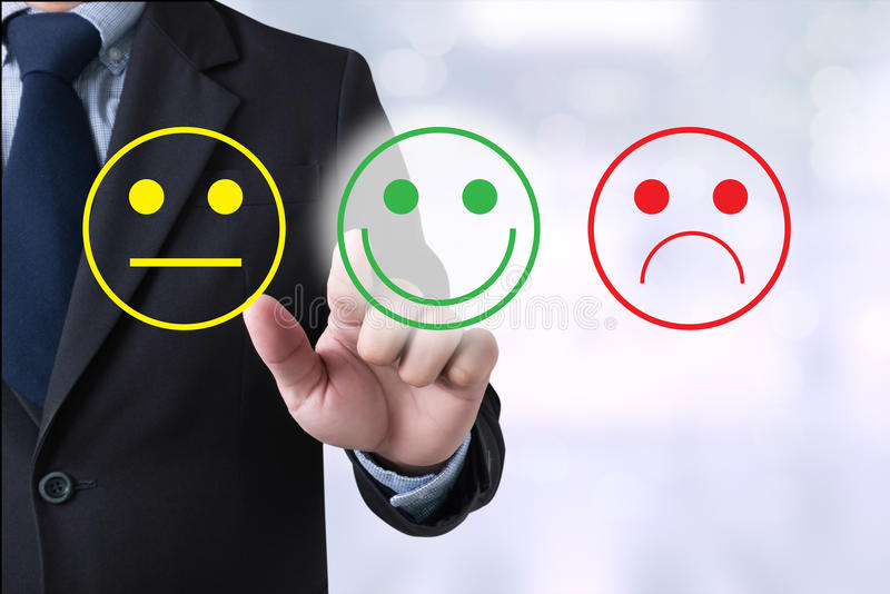 Business man select happy on satisfaction evaluation? stock photography