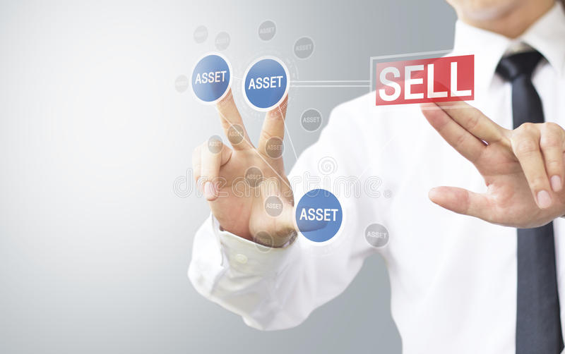 Business man select sell asset stock photo