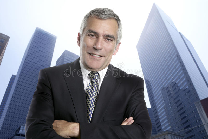 Business man senior urban city office buildings royalty free stock photos