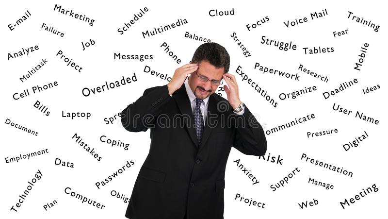 Mature Man holding head in pain stock photos