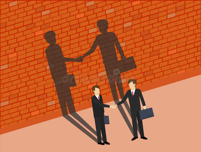 Business man are shaking hands with shadows on the wall. stock illustration