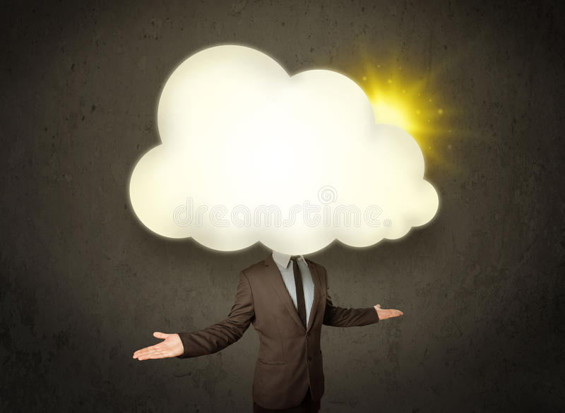 Business man in shirt and tie with a sunny cloud head concept. Young business man in shirt and tie with a sunny cloud head concept stock photography