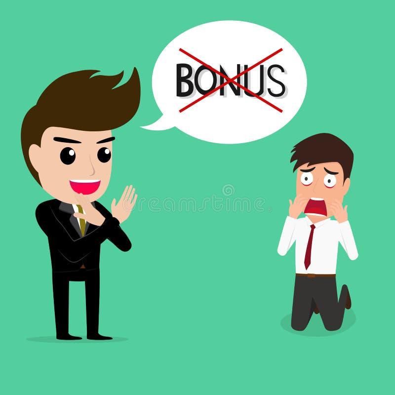 Business man shocked.he does not get bonus. royalty free illustration