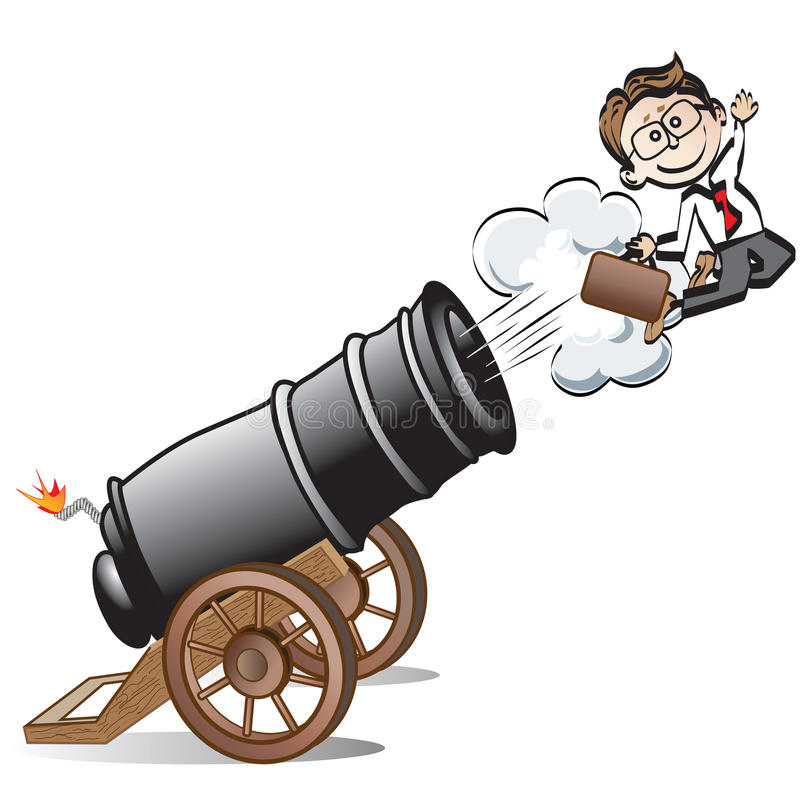 Free Business Man Shot Out Of Cannon Stock Photo - 35514270