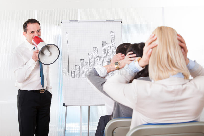 Business Man Shouting In Megaphone royalty free stock photography