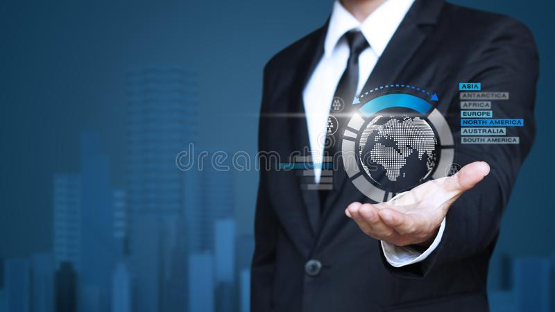 Business man show increase market share. Growth of profit stock photography