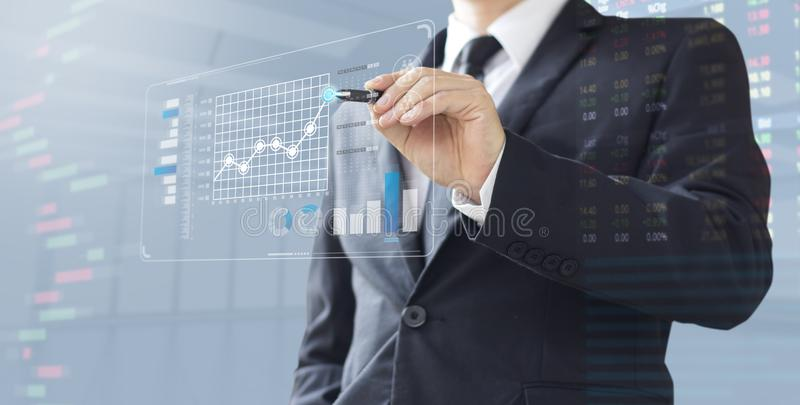 Business man show increase market share investment. Business man show increase market share, growth of profit investment stock photo