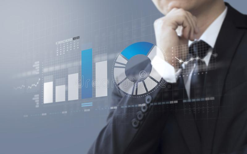 Business man show market share and profit. Business man show market share, growth of profit stock image