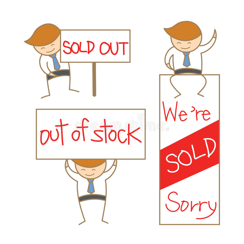 Download Business Man Show Sold Out Sign Set Stock Vector - Image: 29276127