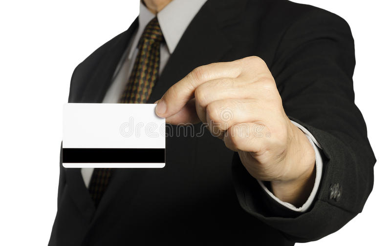 Business man. Showing a blank card over white background royalty free stock photo