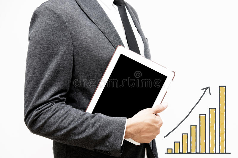 Business man showing hand and finger with hand writing business royalty free stock photography