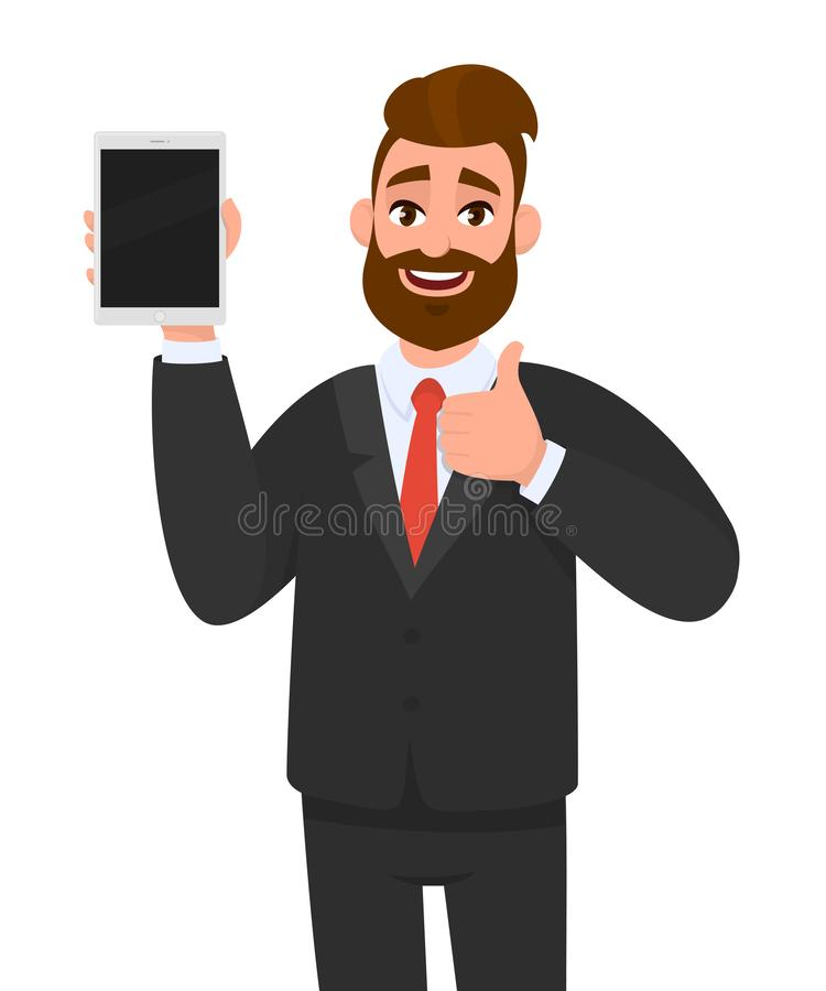 Business man showing, holding blank screen of new digital tablet computer & gesturing/making, showing thumbs up sign. Like, good. stock illustration