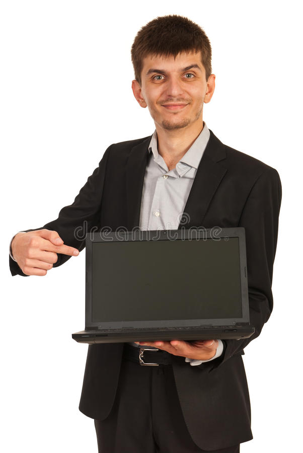 Download Business Man Showing Laptop Screen Stock Photo - Image: 34561494