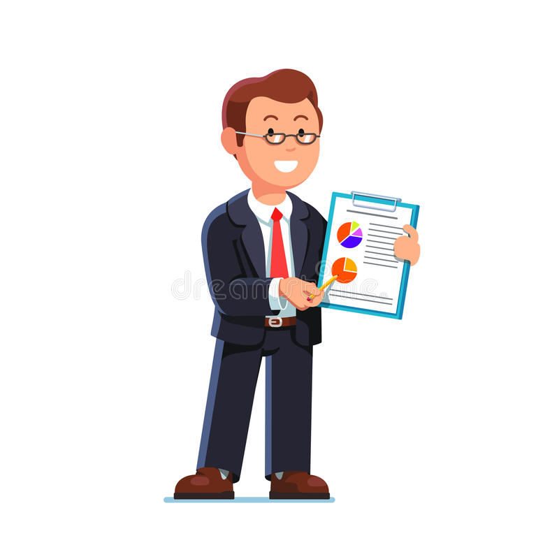Business man showing statistical data and report vector illustration