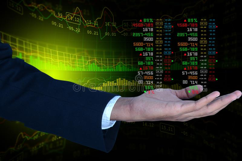 Business man showing the stock chart. Digital illustration of Business man showing the stock chart in color background stock photography