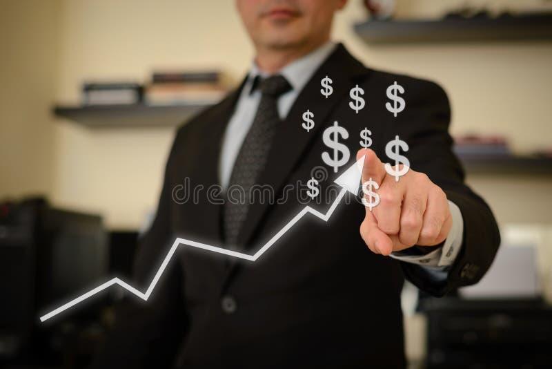 Business man showing success chart stock photos