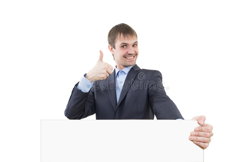 Business man shows a finger blank signboard royalty free stock images
