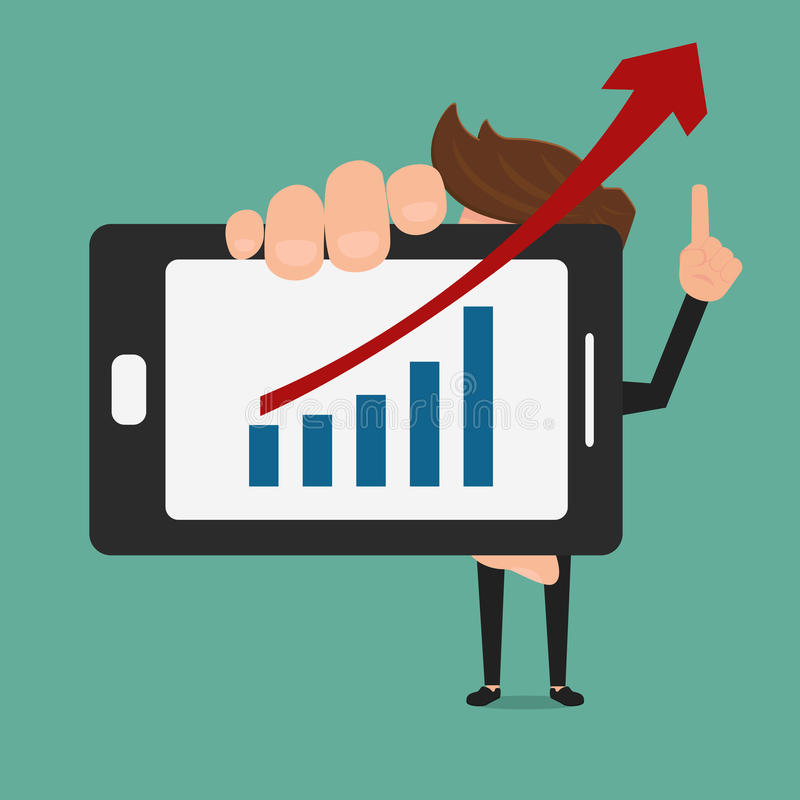 Business man shows increasing bar chart on smart phone. royalty free illustration