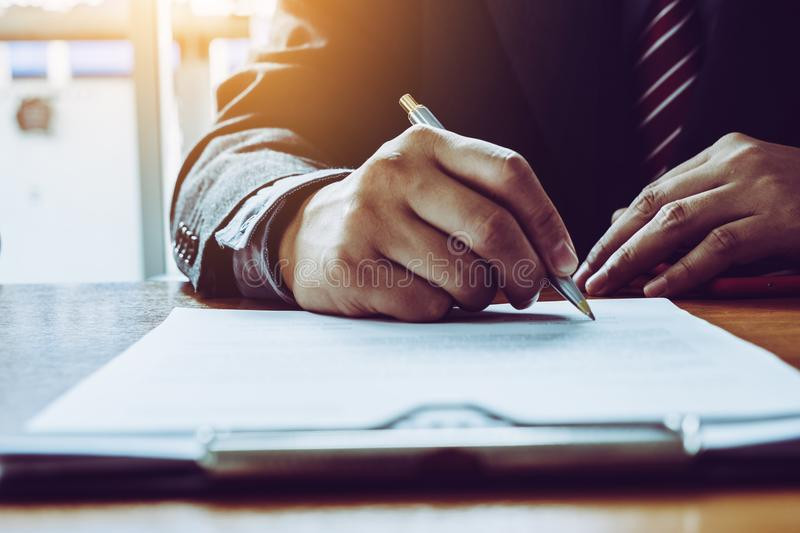 Business man sign a contract investment professional document ag. Reement. meeting room stock images