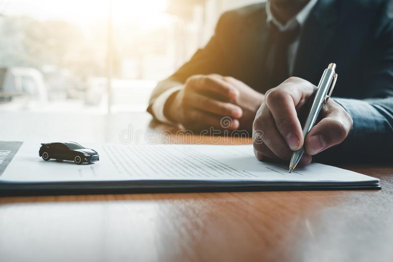 Business man sign a contract investment professional document ag. Reement. meeting room stock photography