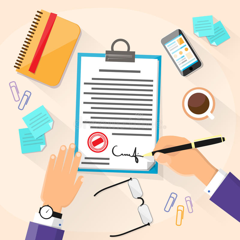 Business Man Signature Document Signing Up. Contract, Businessman Sign Agreement Office Desk Vector Illustration vector illustration