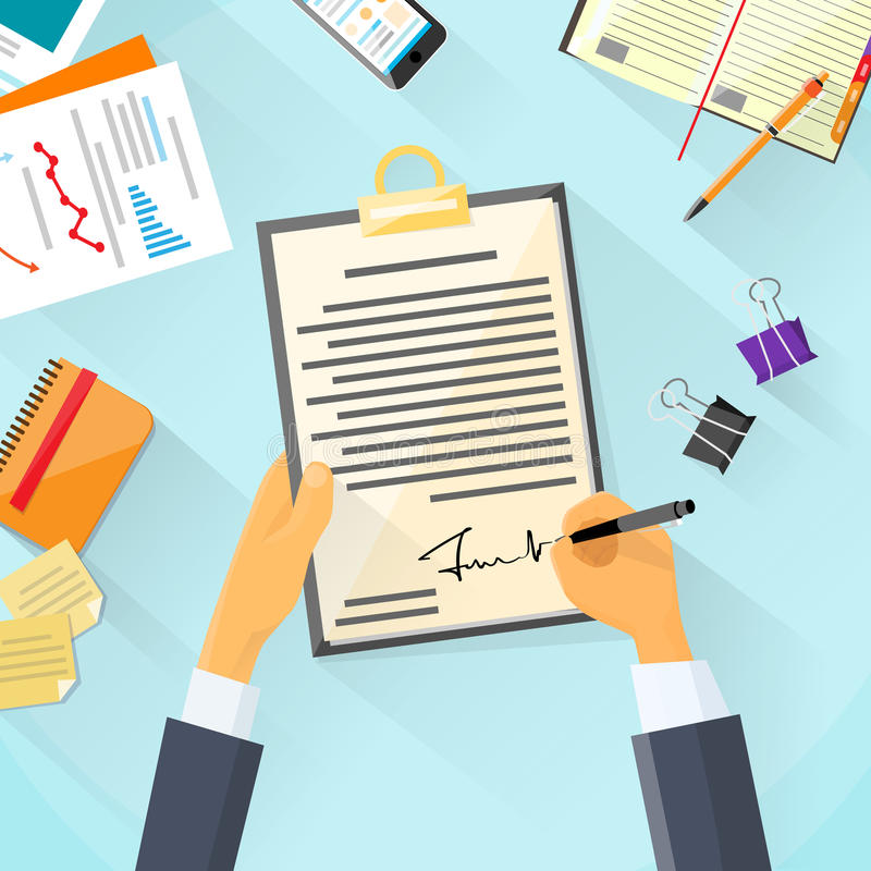 Business Man Signature Document Signing Up. Contract, Businessman Sign Agreement Office Desk Vector Illustration stock illustration