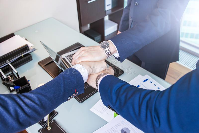 Business man signing a contract. Businessmen discuss business stock photos