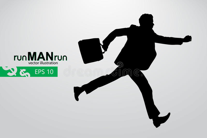 Business man silhouette. Background and text on a separate layer, color can be changed in one click stock illustration