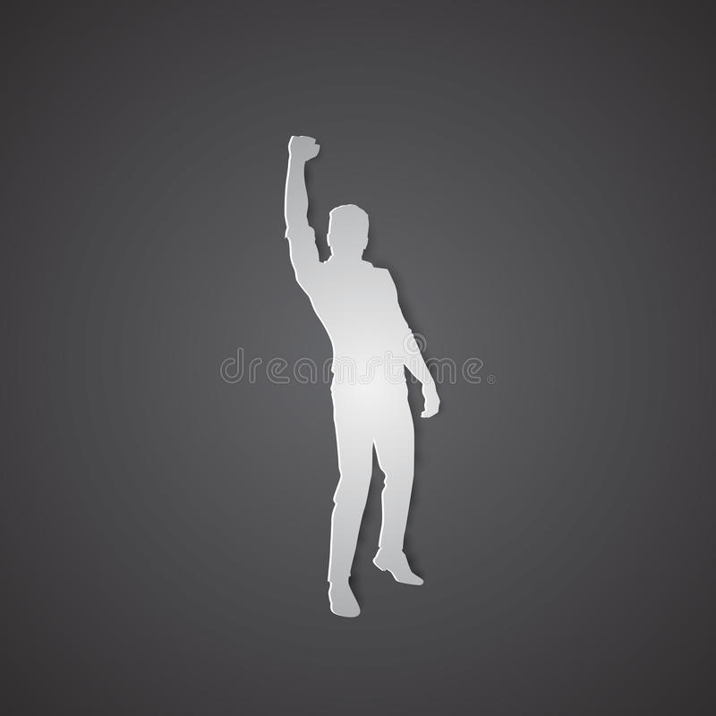 Business Man Silhouette Excited Hold Hands Up Raised Arms, Concept Winner Success stock illustration