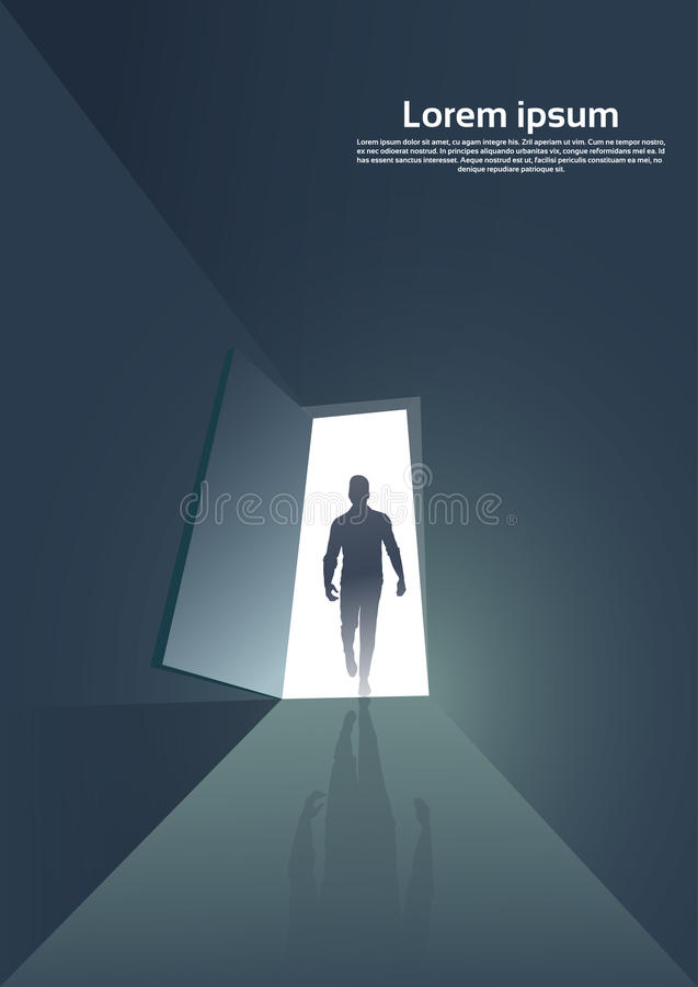 Business Man Silhouette Standing at Door Entrance New Opportunity Concept. Vector Illustration vector illustration