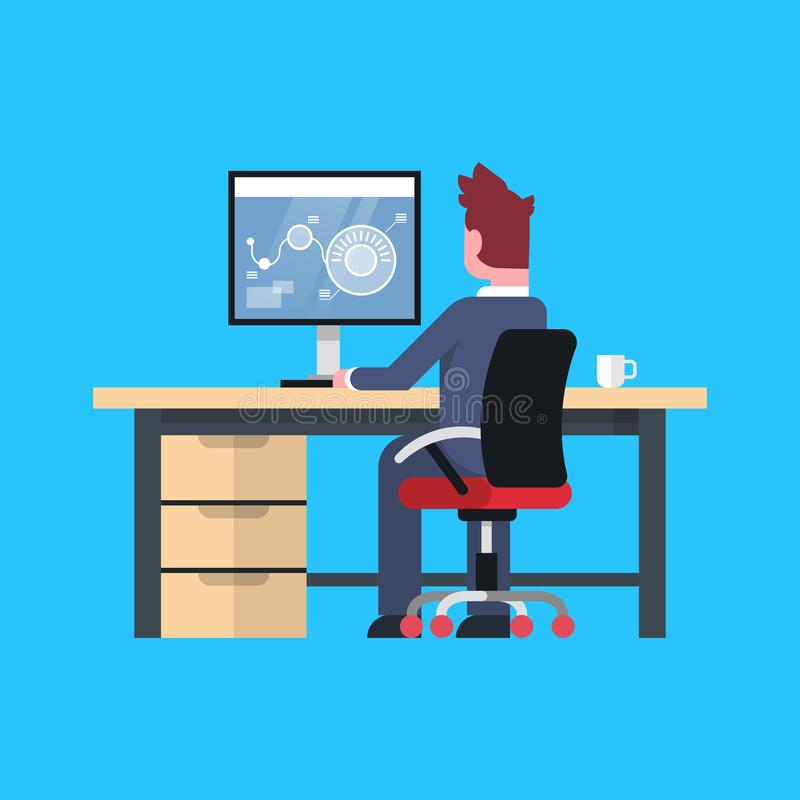 Business Man Sit At Office Desk Working At Computer Male Businessman Back Rear View. Flat Vector Illustration vector illustration