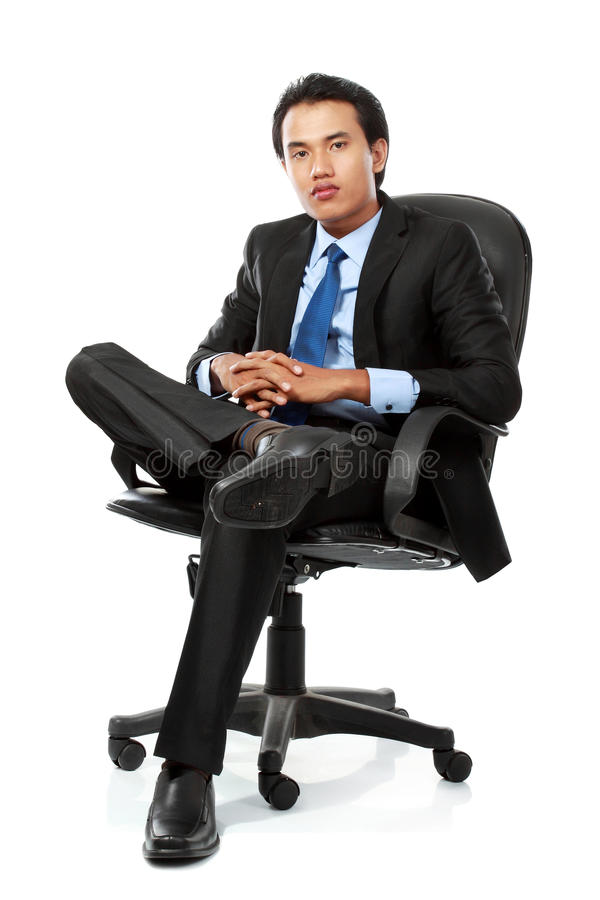 Business Man Sits On Office Chair Stock Images Image
