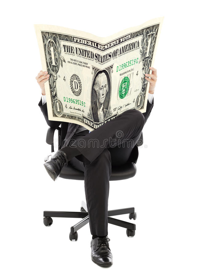 Download Business Man Sitting On A Chair With American Currency In Hands Stock Image - Image of financial, corporate: 42585207
