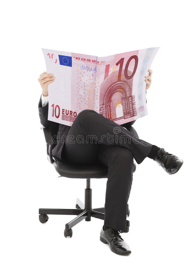 Download Business Man Sitting On A Chair With Euro Currency Stock Photo - Image: 42634734