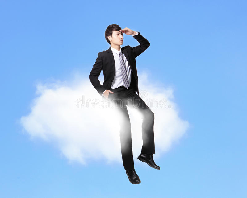 Download Business Man Sitting On A Cloud Stock Image - Image: 30609491