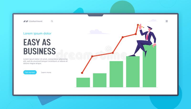 Business Man Sitting on Top of Growing Column Chart Drawing Curve Line. Businessman Work on Growth Data Analysis royalty free illustration