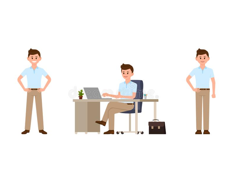 Business man in smart casual look cartoon character. Vector illustration of office worker in different poses. Business man in smart casual look cartoon stock illustration
