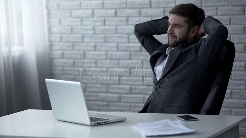 Business man smiling after signing successful contract, mergers and acquisitions stock image