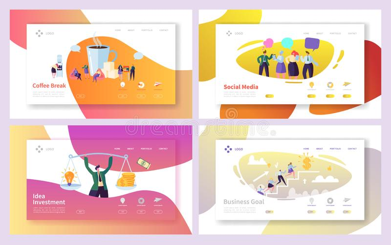Business Man Social Investment Idea Landing Page Set. Office Character Coffee Break Time. Creative Company Team Climb. For Goal Growth Website Concept for Web royalty free illustration