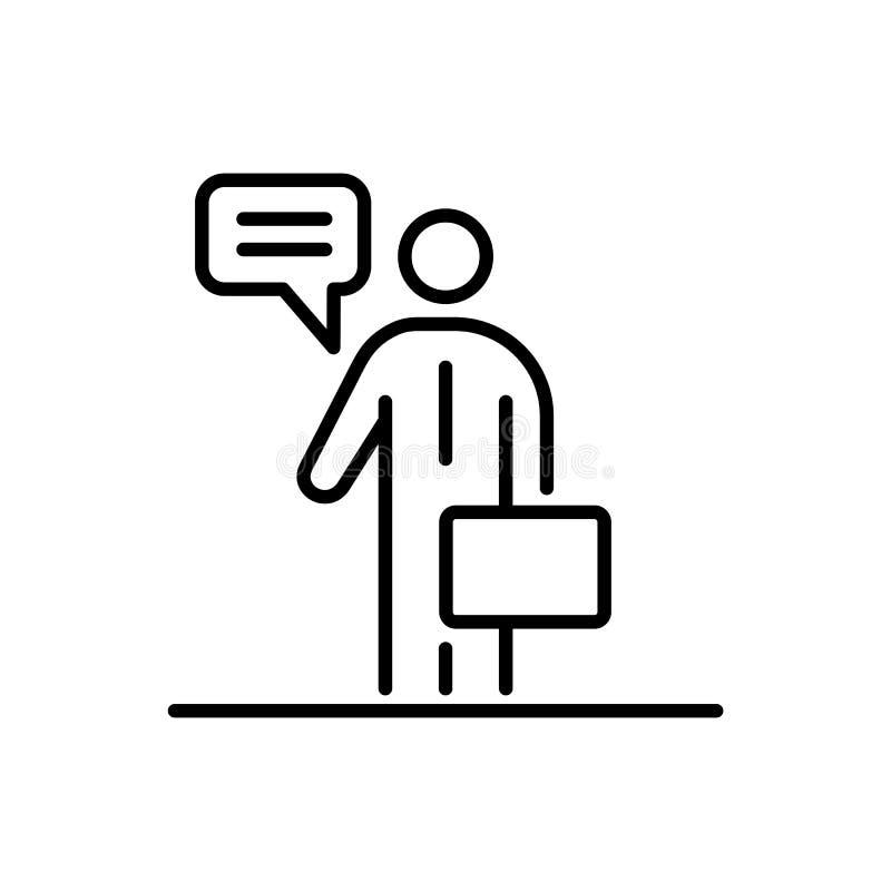 Business man speaking people icon simple line flat illustration vector illustration
