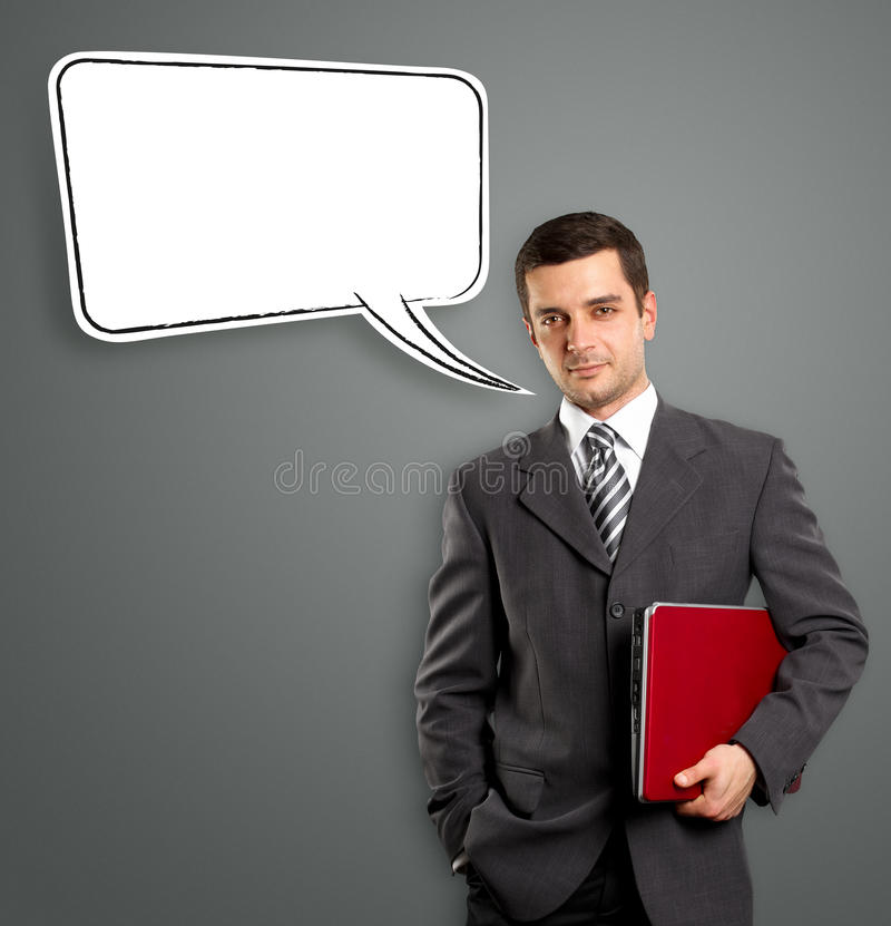 Business Man With Speech Bubble Royalty Free Stock Photos
