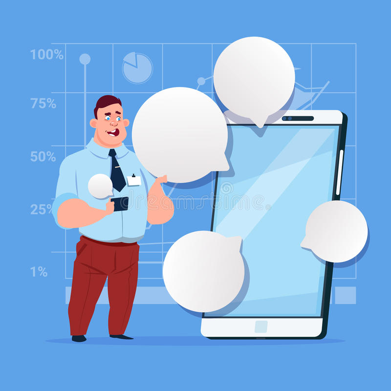 Business Man Stand With Big Cell Smart Phone Social Network Communication Businessman With Chat Bubble. Flat Design Vector Illustration vector illustration