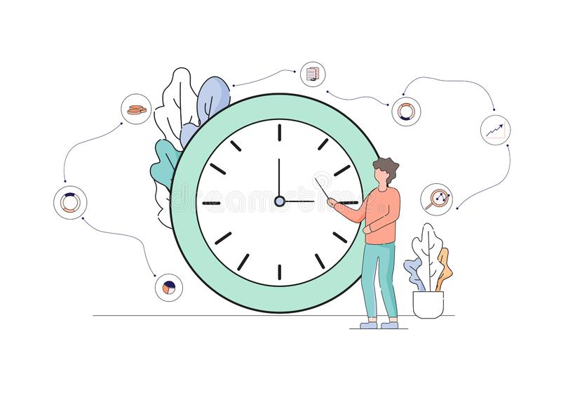Business Man Stand and Pointing at Huge Clock. vector illustration