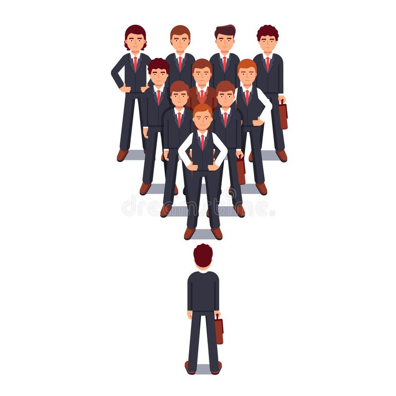 Business man standing against corporate team in wedge formation. Power and stress of leadership metaphor. Modern flat style thin line vector illustration royalty free illustration